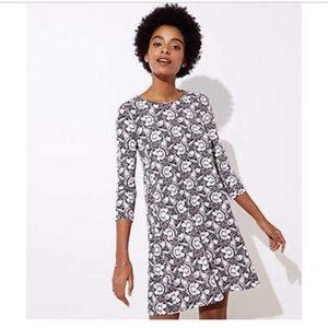 Loft Floral 3/4 Sleeve Swing Dress